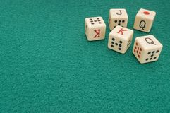 poker dice on mat stock image