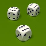 Dice triple six. Three white dice on green background. Triple six Stock Image