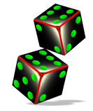 Dice. Two tumbling dice over a white background Stock Photography