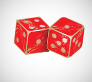 Dice. Vector illustration of shiny red dices on the white background Royalty Free Stock Photos