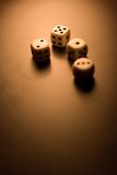Dice vertical view. Low depth resolution Royalty Free Stock Images