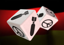 Dice with war and peace symbols on each side. Rolling dice with Royalty Free Stock Images