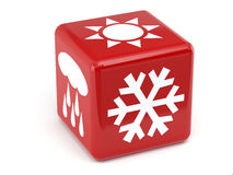 Dice of weather. Dice with raincloud, sun and snowflake on sides on white background Stock Photo