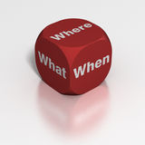 Dice: What, Where or When?. Red die with sides of either Where, What or When Stock Images