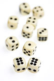Dice on a white background. Dice on a white isolated background royalty free stock photography