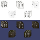 Dice. White and black dice. There are separate elements with which you can create dice with your values Stock Photography