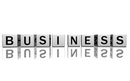 Dice white business. Dice isolated on a white reflecting floor making the word business Royalty Free Stock Photos