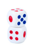 Dice  on white close-up. Royalty Free Stock Photography