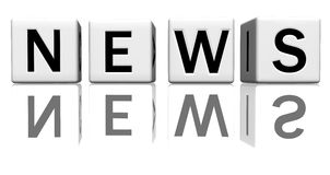 Dice white news. Dice isolated on a reflecting white ground, making the word news Stock Photography
