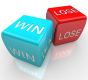 Dice - Win Vs Lose. A pair of dice with the words win and lose Stock Photography