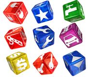 Dice With Comon Symbols Stock Images