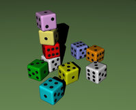 Dice wood, colored Royalty Free Stock Image