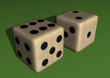 Dice wood, colored. In green background Royalty Free Stock Photography