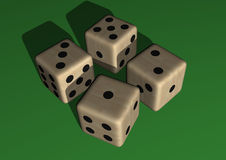 Dice wood, colored. In green background Stock Photos