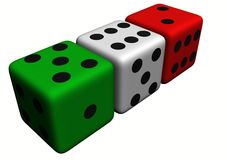 Dice wood, colored. In withe background Stock Image