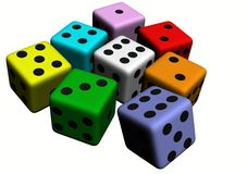 Dice wood, colored. In withe background Royalty Free Stock Photos
