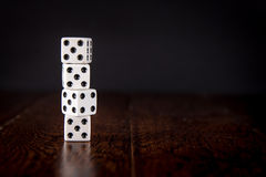 Dice on Wood Table Background Stock Photography