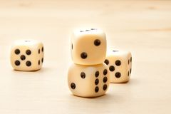 Dice on wood table Royalty Free Stock Photography
