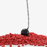 Dice and wrecking ball Royalty Free Stock Photo