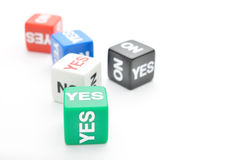 Dice yes,no Royalty Free Stock Images