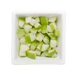Diced зеленое яблоко Стоковые Фото