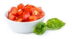 Diced томаты изолированными на белизне Стоковые Фотографии RF
