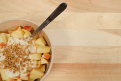 Diced Apples with Yogurt and Granola Stock Photos