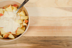 Diced Apples with Yogurt Stock Photography