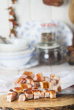 Diced bacon on the kitchen table Royalty Free Stock Photography
