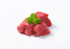 Diced beef. Raw beef cut into cubes Stock Photo