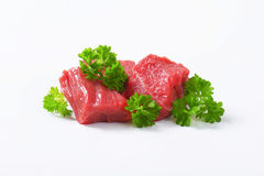 Diced beef. Raw beef cut into cubes Stock Photos