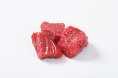 Diced beef. Raw beef cut into cubes Royalty Free Stock Images