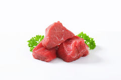 Diced beef. Raw beef cut into cubes Royalty Free Stock Photography