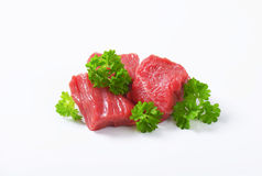 Diced beef. Raw beef cut into cubes Stock Image