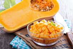 Diced butternut squash in a bowl Royalty Free Stock Images
