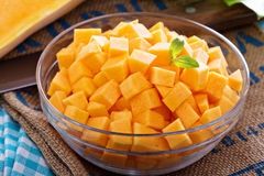 Diced butternut squash in a bowl Stock Photography
