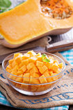 Diced butternut squash in a bowl Stock Photos