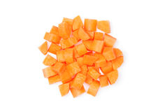 Diced carrot. Over white background Stock Image