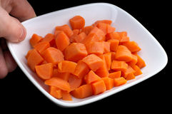 Diced carrot on the plate Royalty Free Stock Photo