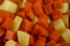 Diced Carrot and Potato Stock Image