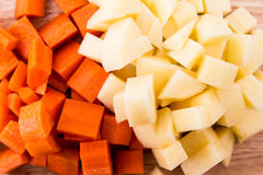 Diced carrots & diced potatoes Royalty Free Stock Images