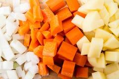 Diced carrots & diced potatoes Stock Photography