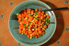 Diced carrots, peas and sweetcorn Royalty Free Stock Photography