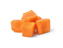 Diced carrots on white. Background stock image