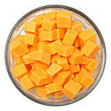 Diced Cheddar Cheese Squares in Bowl Over White. Top View Diced Cheddar Cheese Squares in Bowl Over White stock photos
