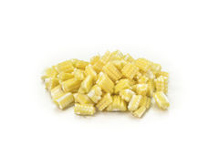 Diced cooked baby corn isolated on white background.  Stock Images