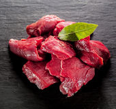 Diced deer steak for a venison goulash Stock Images