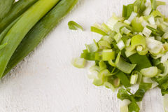 Diced fresh leeks Royalty Free Stock Images