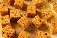 Diced gingerbread cake Royalty Free Stock Images