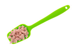 Diced ham on a green spoon Royalty Free Stock Image